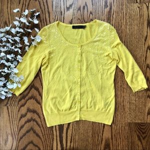 The Limited | Yellow Sequin Cardigan Size XS